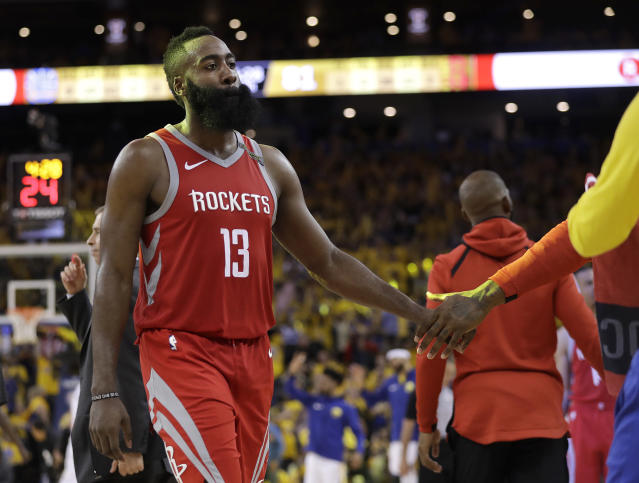James Harden and the Rockets took part in an all-time NBA collapse in the second half of Saturday's Game 6. (AP)