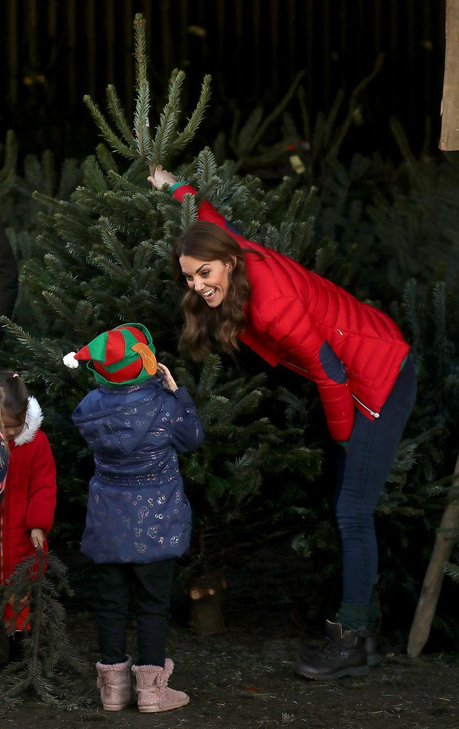 <p>The Duchess visited a Christmas tree farm to support Family Action, a charity that Kate recently became a patron of. Since her start as an official royal, she focuses her attention on organizations that aid women and children and fight the stigma around mental health.<br></p>