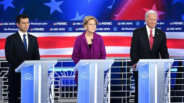 PHOTO: Democratic presidential hopefuls Mayor of South Bend, Indiana, Pete Buttigieg, Massachusetts Senator Elizabeth Warren and Former Vice President Joe Biden speak during the fifth Democratic primary debate of the 2020 presidential campaign season. (Saul Loeb/AFP/Getty Images)