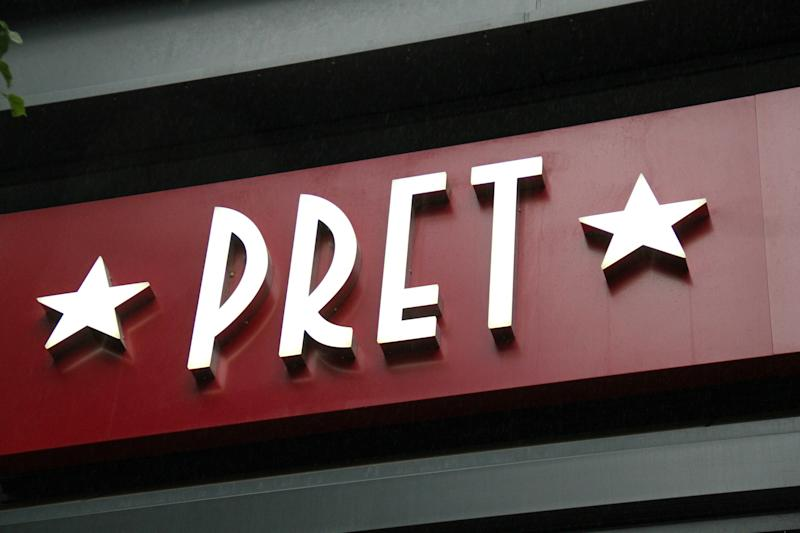 LONDON, UNITED KINGDOM - 2020/07/08: Pret a Manger, the coffee chain is to close 30 stores across the UK as a result of declining sales, putting around 1,000 jobs at risk and reduced headcount across many of its remaining 380 shops. Many UK businesses are announcing job losses due to the effects of the Coronavirus Pandemic and Lockdown. (Photo by David Mbiyu/SOPA Images/LightRocket via Getty Images)