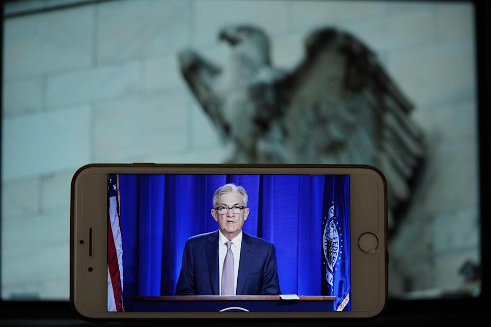 WASHINGTON, June 10, 2020 -- Photo taken on June 10, 2020 shows the live broadcast of U.S. Federal Reserve Chairman Jerome Powell's address during a press conference in Washington D.C., the United States. The U.S. Federal Reserve on Wednesday kept its benchmark interest rate unchanged at the record-low level of near zero amid mounting fallout from the COVID-19-induced recession, and projected interest rates to remain at the current level through at least 2022. (Photo by Liu Jie/Xinhua via Getty) (Xinhua/Liu Jie via Getty Images)