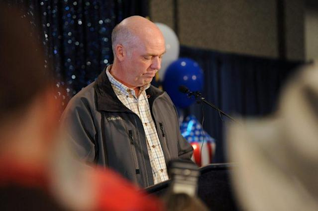 Greg Gianforte apologizes during his victory speech for becoming involved in an altercation with a reporter. (Photo: Colter Peterson/Reuters)