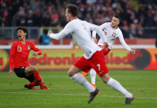 Soccer Football - International Friendly - Poland vs South Korea - Silesian Stadium, Chorzow, Poland - March 27, 2018 Poland's Piotr Zielinski scores their third goal REUTERS/Kacper Pempel