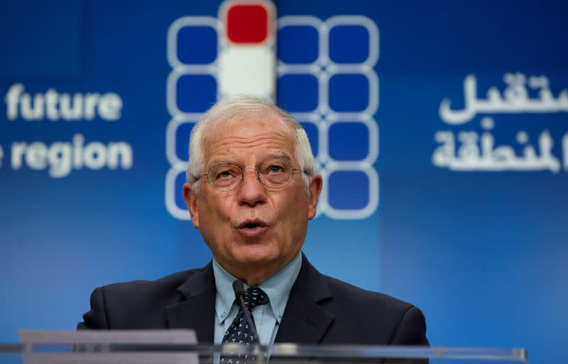 """News conference after a meeting """"Supporting the future of Syria and the Region"""", in videoconference format, at the European Council building in Brussels"""