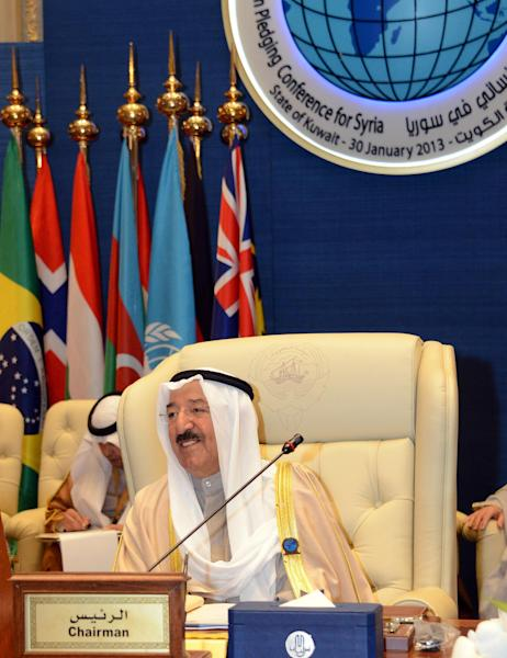 "The Amir of Kuwait Sheikh Sabah Al Sabah, attends the International Humanitarian Pledging Conference for Syria in Bayan Palace, Kuwait City, Wednesday, Jan. 30, 2013. The U.N. chief made a dramatic appeal Wednesday for a major boost in relief aid for Syria, calling for an end to the fighting ""in the name of humanity"" as an international conference opened in Kuwait with both foes and backers of President Bashar Assad. (AP Photo/Gustavo Ferrari)"