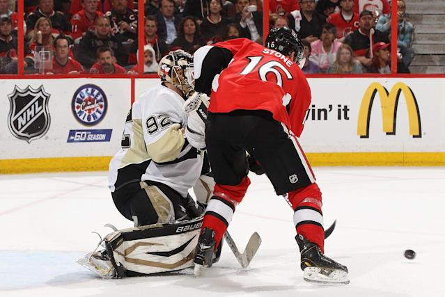 OTTAWA, CANADA - MAY 22: Mark Stone #16 of the Ottawa Senators is on the doorstep as Tomas Vokoun #92 of the Pittsburgh Penguins makes a save in Game Four of the Eastern Conference Semifinals during the 2013 NHL Stanley Cup Playoffs, at Scotiabank Place, on May 22, 2013 in Ottawa, Ontario, Canada. (Photo by Jana Chytilova/Freestyle Photography/Getty Images)
