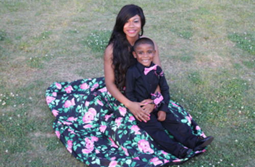 Haleigh and her cousin Bentley in a photo before the prom
