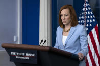 White House press secretary Jen Psaki speaks with reporters in the James Brady Press Briefing Room at the White House, Friday, May 21, 2021, in Washington. (AP Photo/Alex Brandon)