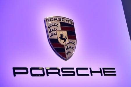 The Porsche logo as the reveal of the 2020 Porsche 911 Speedster at the 2019 New York International Auto Show in New York