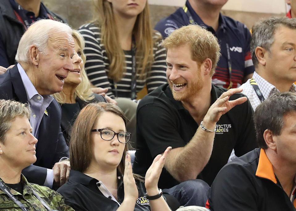 Harry, Joe and Jill Biden cheer on the teams as the USA competes against the Netherlands during the Invictus Games 2017 on Sept. 30, 2017, in Toronto. (Chris Jackson via Getty Images)