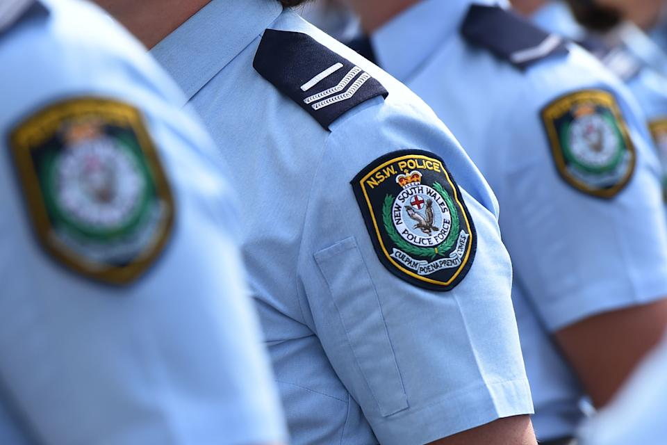 Stock image of New South Wales Police badges in Sydney.