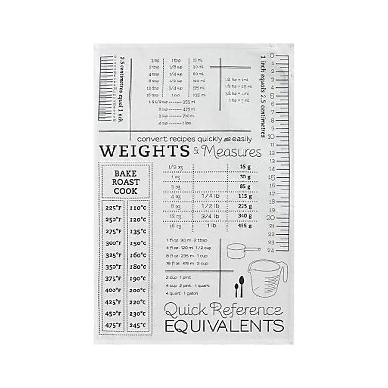 """<p>This dish towel is printed with so much handy information (ounce to gram conversions and inch and centimeter rulers, to name just a few) that it's tempting to ignore its other functions — cleaning and drying in the kitchen. It's made of machine washable cotton, generously sized (20-by-30 inches), and has a handy hanging loop. <b>Price: $6. <a href=""""http://www.crateandbarrel.com/conversion-dish-towel/s586440"""" rel=""""nofollow noopener"""" target=""""_blank"""" data-ylk=""""slk:Get the dish towel from Crate & Barrel."""" class=""""link rapid-noclick-resp"""">Get the dish towel from Crate & Barrel.</a> </b><i>(Photo: Crate & Barrel)</i></p>"""