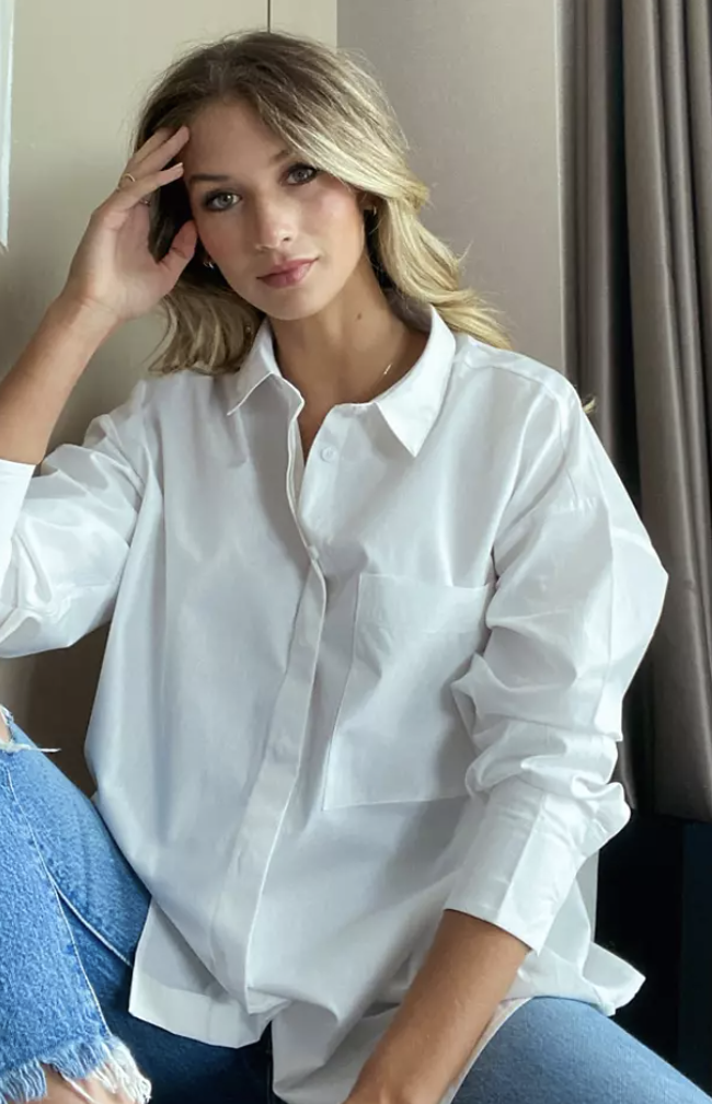 long sleeve boyfriend shirt in cotton in white, $50, from ASOS