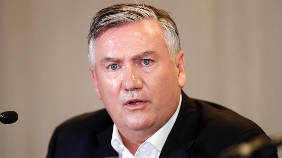 Pictured here, Eddie McGuire fronts a press conference during his time as Collingwood president.