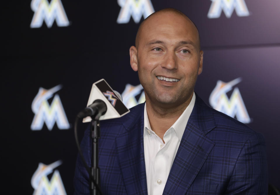 FILE - In this Monday, Oct. 22, 2018 file photo, Miami Marlins CEO Derek Jeter speaks during a news conference in Miami. During the offseason the Miami Marlins announced new concession offerings that included mushroom tacos, fries with mole sauce and bottomless popcorn and soda. The woebegone franchises biggest offseason move came Thursday, when the Marlins traded All-Star catcher J.T. Realmuto to the Philadelphia Phillies for catcher Jorge Alfaro, two pitching prospects and $250,000 in international signing bonus pool allocation. The trade was the latest move in CEO Derek Jeters rebuilding effort, which began soon after he took over in late 2017 and will likely continue for at least a couple more years. (AP Photo/Lynne Sladky, File)