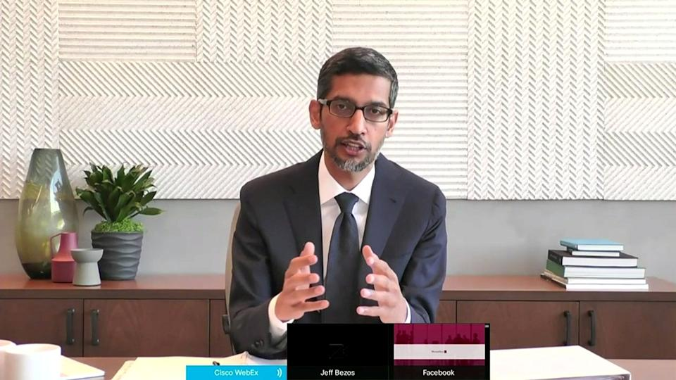 "Google CEO Sundar Pichai testifies remotely via videoconference during a U.S. House Judiciary Subcommittee on Antitrust, Commercial and Administrative Law hearing on ""Online Platforms and Market Power"" in this screengrab made from video as the committee meets on Capitol Hill, in Washington, U.S., July 29, 2020.  U.S. House Judiciary Committee via REUTERS"