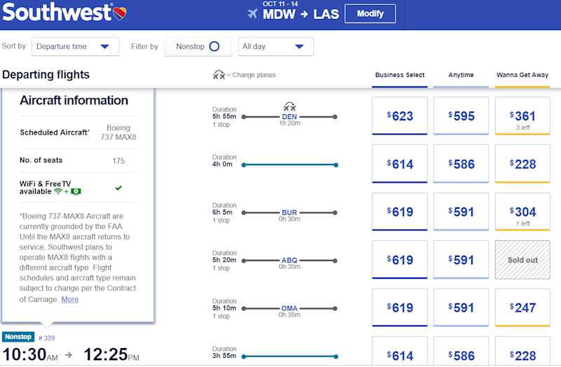 Southwest Airlines lists the plane scheduled on your flight when you click on the flight number.