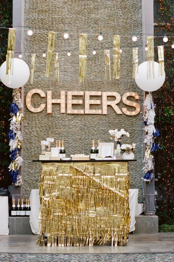 """<p>Rarely do bohemian and city glam styles intersect, but this party from <a rel=""""nofollow noopener"""" href=""""http://gatherevents.com/"""" target=""""_blank"""" data-ylk=""""slk:Gather Events"""" class=""""link rapid-noclick-resp"""">Gather Events</a> perfectly pulls off their marriage. You can pull it off, too, buy covering your party with fringe - but keep it a metallic hue.</p>"""