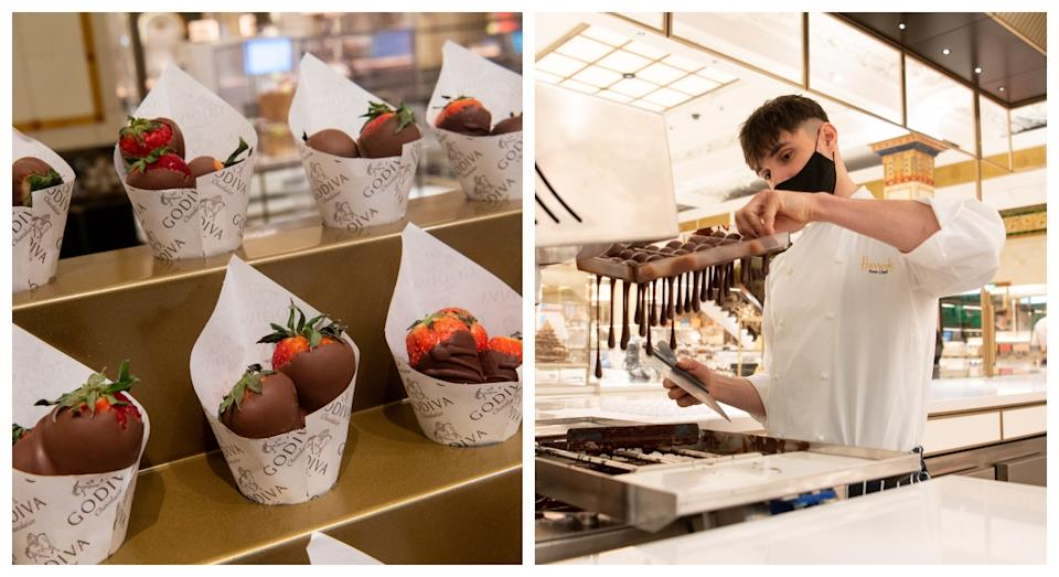 The chocolate dipped strawberries (left) and a chef making chocolate in store (Harrods)