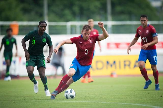 Tomas Kalas (on the ball) scored the only goal for the Czech Republic against Nigeria (AFP Photo/VLADIMIR SIMICEK)