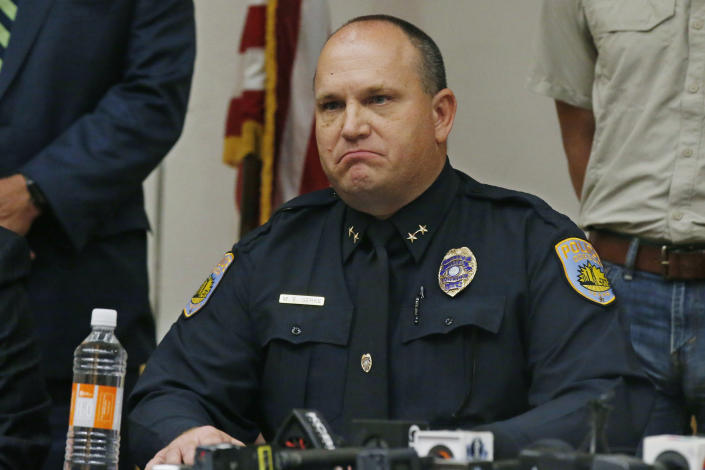Odessa Police Chief Michael Gerke announces that he does not want to speak the name of the shooter from Saturday's shooting during a news conference, Sept. 1, 2019, in Odessa, Texas. (AP Photo/Sue Ogrocki)
