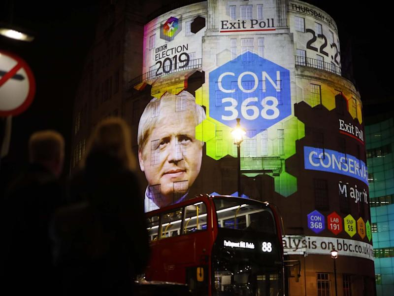 The broadcaster's exit poll results are projected on the outside of the BBC building in London: AFP/Getty