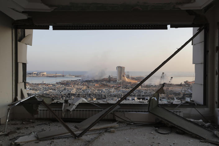 Beirut's destroyed port seen after the massive explosion one day earlier, on Aug. 5   Hassan Ammar—AP