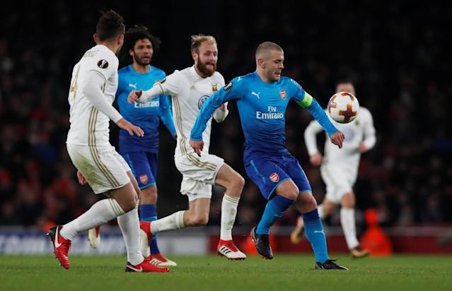 Soccer Football - Europa League Round of 32 Second Leg - Arsenal vs Ostersunds FK - Emirates Stadium, London, Britain - February 22, 2018 Arsenal's Jack Wilshere in action with Ostersunds FK's Curtis Edwards Action Images via Reuters/Peter Cziborra