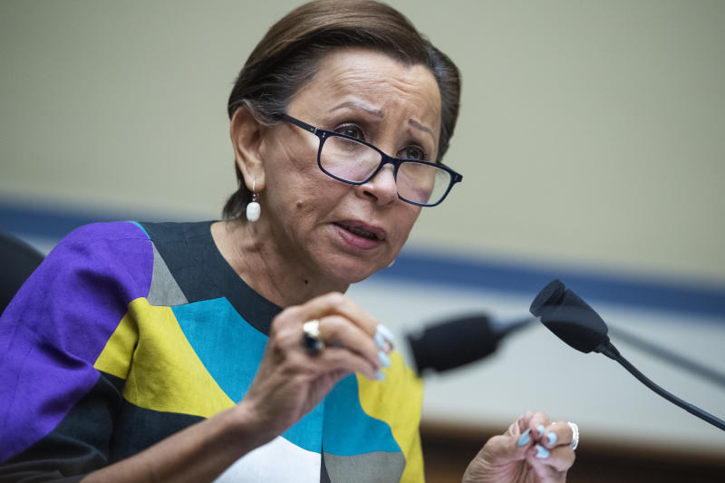 Rep. Nydia Velázquez, D-N.Y., during a House hearing on FEMA's response to the COVID-19 pandemic. (Tom Williams/CQ-Roll Call, Inc. via Getty Images)