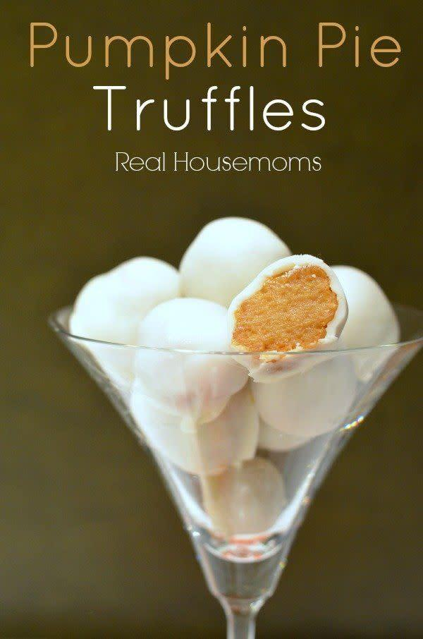 """Don't get intimidated when you hear the word """"truffles"""": this recipe is easy and so fast! <a href=""""http://realhousemoms.com/pumpkin-pie-truffles/"""" rel=""""nofollow noopener"""" target=""""_blank"""" data-ylk=""""slk:Find the recipe at Real Housemoms"""" class=""""link rapid-noclick-resp"""">Find the recipe at Real Housemoms</a>."""