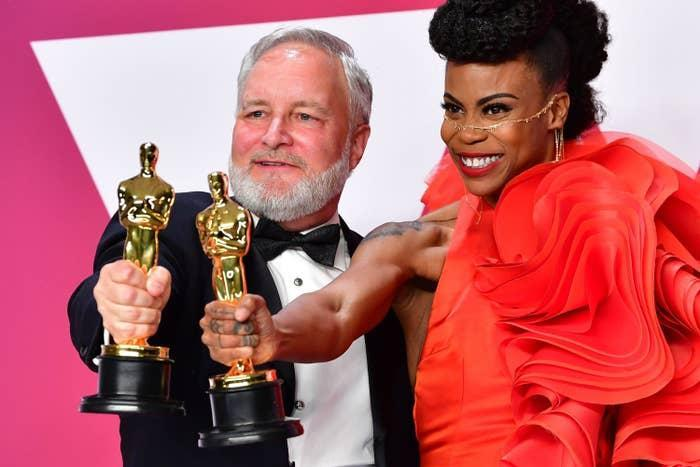 Jay Hart and Hannah Beachler at the Academy Awards after winning Best Production Design