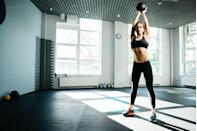 <p>Overhead medicine ball slams strengthen your core as it works against gravity. This exercise also tests your endurance, getting your heart rate up each time you pick the ball up and bring it overhead. To get the most out of this exercise, be sure to use a heavy weighted ball. </p><p><strong>How to do overhead medicine ball slams: </strong>Standing tall with your feet hip-width apart, hold a medicine ball with both hands. Reach both arms overhead, fully extending your body. Slam the ball forward and down toward the ground. Extend your arms toward the ground as you slam and don't be afraid to bend your knees as you hinge over. Squat to pick the ball up and then stand back up.</p>