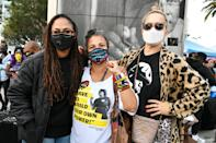 <p>Ava DuVernay poses with Black Lives Matter L.A. co-founder Melina Abdullah and Victoria Mahoney at an Election Day Marathon Party at the Polls, hosted by BLM L.A., at Staples Center on Tuesday.</p>
