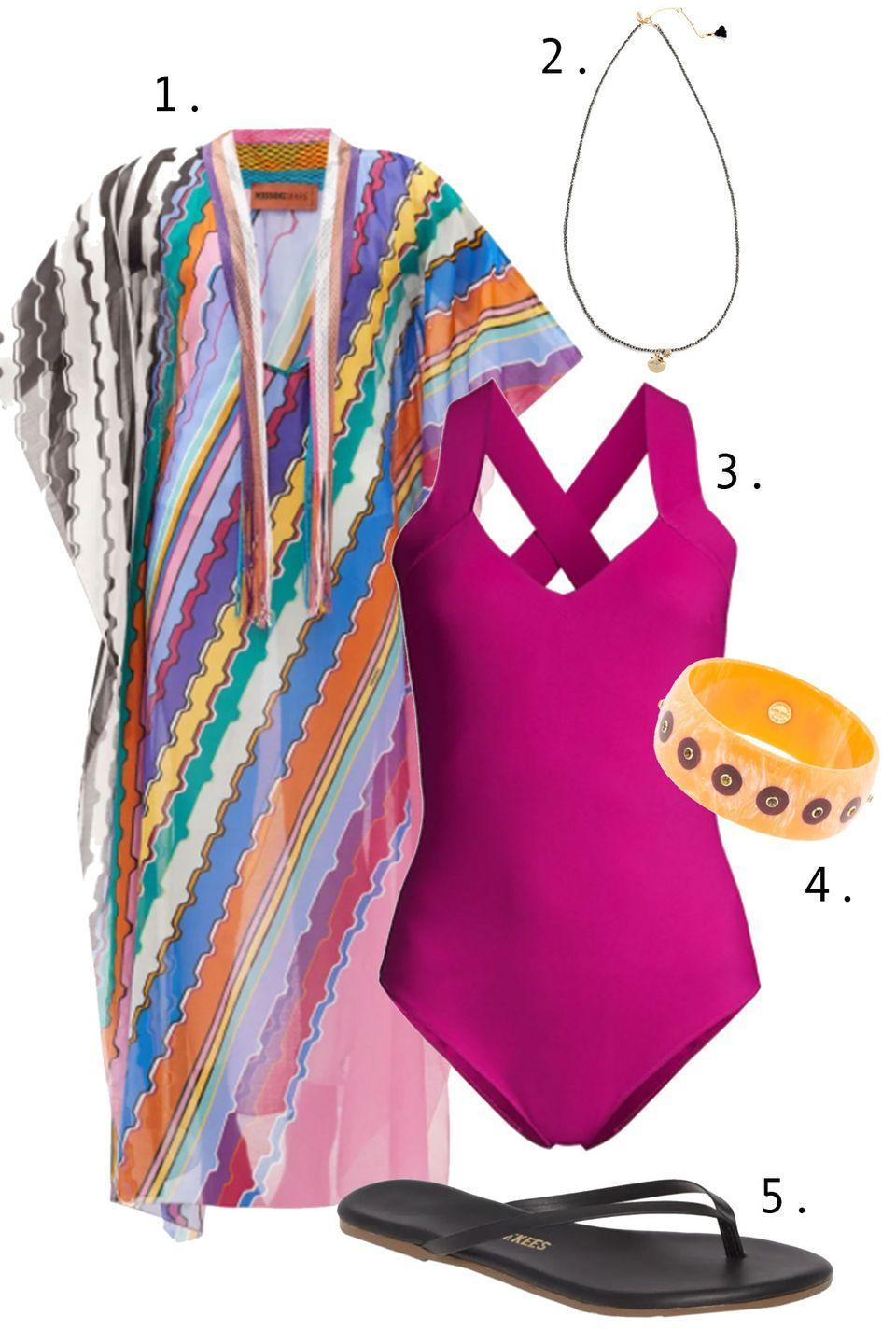"""<p>Let's face facts: a caftan will never be a bad option when it comes to poolside dressing—especially with a one-piece. Pick a roomie coverup with a pattern whose colors echo the hue of your maillot. Then, add a piece of jewelry and simple flips. Chic and easy, which is how we like it!</p><ol><li><a href=""""https://go.skimresources.com?id=74968X1525087&xs=1&url=https%3A%2F%2Fwww.matchesfashion.com%2Fus%2Fproducts%2FMissoni-Mare-V-neck-striped-cotton-voile-kaftan-1400588"""" rel=""""nofollow noopener"""" target=""""_blank"""" data-ylk=""""slk:Missoni Mare kaftan"""" class=""""link rapid-noclick-resp"""">Missoni Mare kaftan</a> 2. <a href=""""https://go.skimresources.com?id=74968X1525087&xs=1&url=https%3A%2F%2Fmaison-de-mode.com%2Fproducts%2Fblack-label-pyrite-bracelet"""" rel=""""nofollow noopener"""" target=""""_blank"""" data-ylk=""""slk:Shashi necklace"""" class=""""link rapid-noclick-resp"""">Shashi necklace</a> 3. <a href=""""https://go.skimresources.com?id=74968X1525087&xs=1&url=https%3A%2F%2Fwww.saksfifthavenue.com%2Fproduct%2Fchiara-boni-la-petite-robe-bine-crisscross-one-piece-swimsuit-0400013514828.html%3Fdwvar_0400013514828_color%3DCYCLAMEN"""" rel=""""nofollow noopener"""" target=""""_blank"""" data-ylk=""""slk:Chiara Boni La Petite Robe swim"""" class=""""link rapid-noclick-resp"""">Chiara Boni La Petite Robe swim</a> 4. <a href=""""https://go.skimresources.com?id=74968X1525087&xs=1&url=https%3A%2F%2Fwww.farfetch.com%2Fshopping%2Fwomen%2Fmark-davis-18kt-gold-bakelite-bangle-bracelet-item-15425476.aspx%3Fstoreid%3D9512"""" rel=""""nofollow noopener"""" target=""""_blank"""" data-ylk=""""slk:Mark Davis bangle"""" class=""""link rapid-noclick-resp"""">Mark Davis bangle</a> 5. <a href=""""https://go.skimresources.com?id=74968X1525087&xs=1&url=https%3A%2F%2Fwww.nordstrom.com%2Fs%2Ftkees-liners-flip-flop%2F3528227%3Forigin%3Dcategory-personalizedsort%26breadcrumb%3DHome%252FWomen%252FShoes%252FSandals%26fashioncolor%3DBlack%26color%3D001"""" rel=""""nofollow noopener"""" target=""""_blank"""" data-ylk=""""slk:Tkees sandals"""" class=""""link rapid-noclick-resp"""">Tkees sandals</a></li></ol>"""