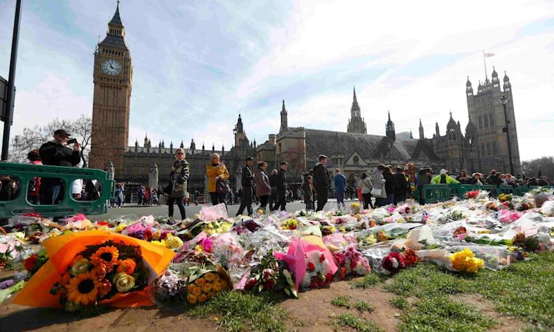 The floral tributes placed in Parliament Square, following the attack in Westminster.