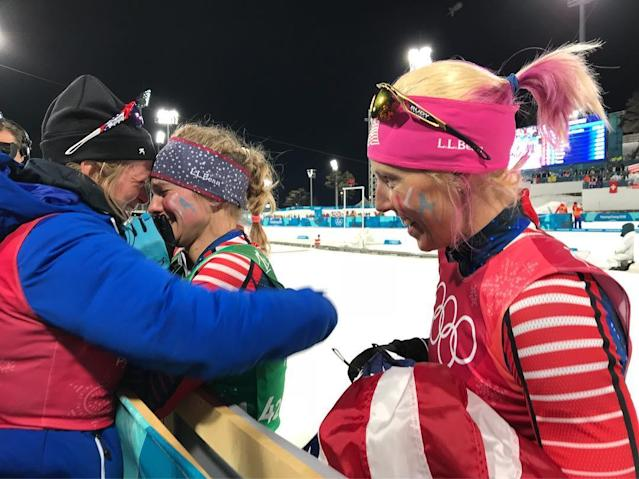 <p>caitlinmpatterson: GOLD!!!<br> Amazing skiing by some of the most inspiring women I know! @jessiediggins @kikkanimal Feeling lucky to be here witnessing the most historic day!! #Olympic #Gold #teamUSA<br> (Photo via Instagram/caitlinmpatterson) </p>