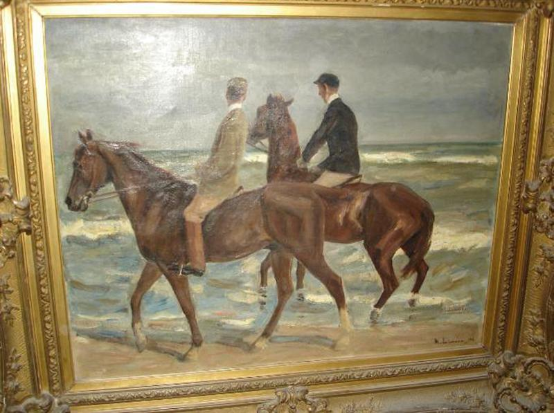 Photo provided by the Augsburg, southern Germany, prosecution Tuesday, Nov. 12, 2013 shows a painting 'Reiter am Strand' ('Riders at the Beach') by German artist Max Liebermann from 1901 that was among the more than 1400 art works that were seized by German authorities in an apartment in Munich in February 2012. Investigators, aided by a leading art historian, are trying to establish the artworks' legal status and history. It's unclear how many of the works might be subject to return to pre-World War II owners. (AP Photo/Staatsanwaltschaft Augsburg)