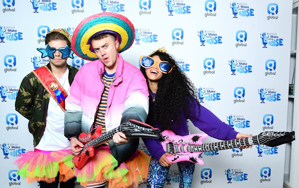 Sonny Jay, Roman Kemp and Vick Hope at Global's Make Some Noise Appeal Day, set up by Global, to raise money to help disadvantaged children, young people and their families across the UK.