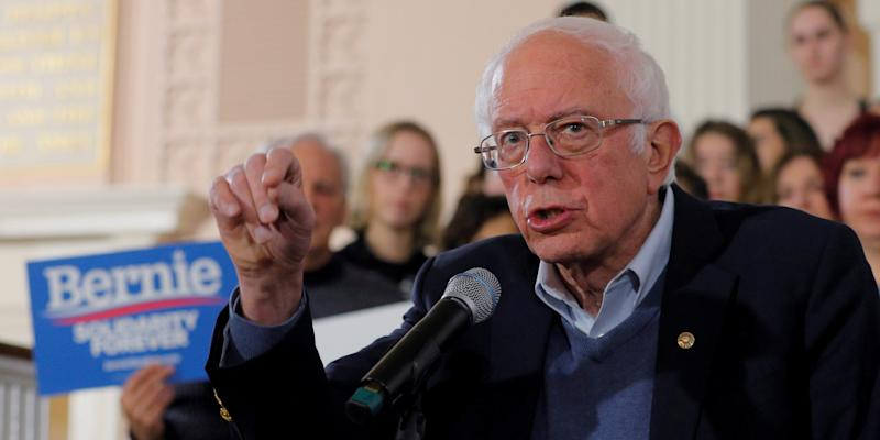 FILE PHOTO: Democratic 2020 U.S. presidential candidate and U.S. Senator Bernie Sanders (I-VT) speaks at a campaign town hall meeting in Portsmouth, New Hampshire, U.S., November 24, 2019. REUTERS/Brian Snyder
