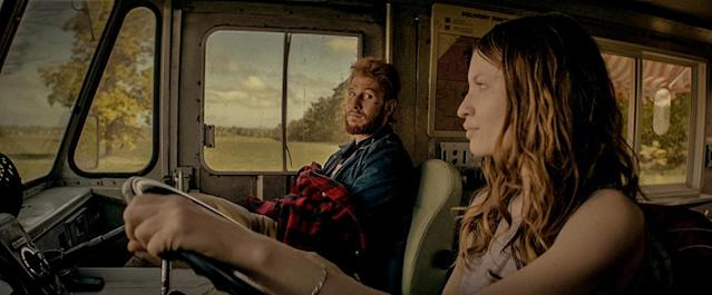 <p>Pablo Schreiber as Mad Sweeney,and Emily Browning as Laura Moon in Starz's <i>American Gods</i>.<br><br>(Photo: Starz) </p>