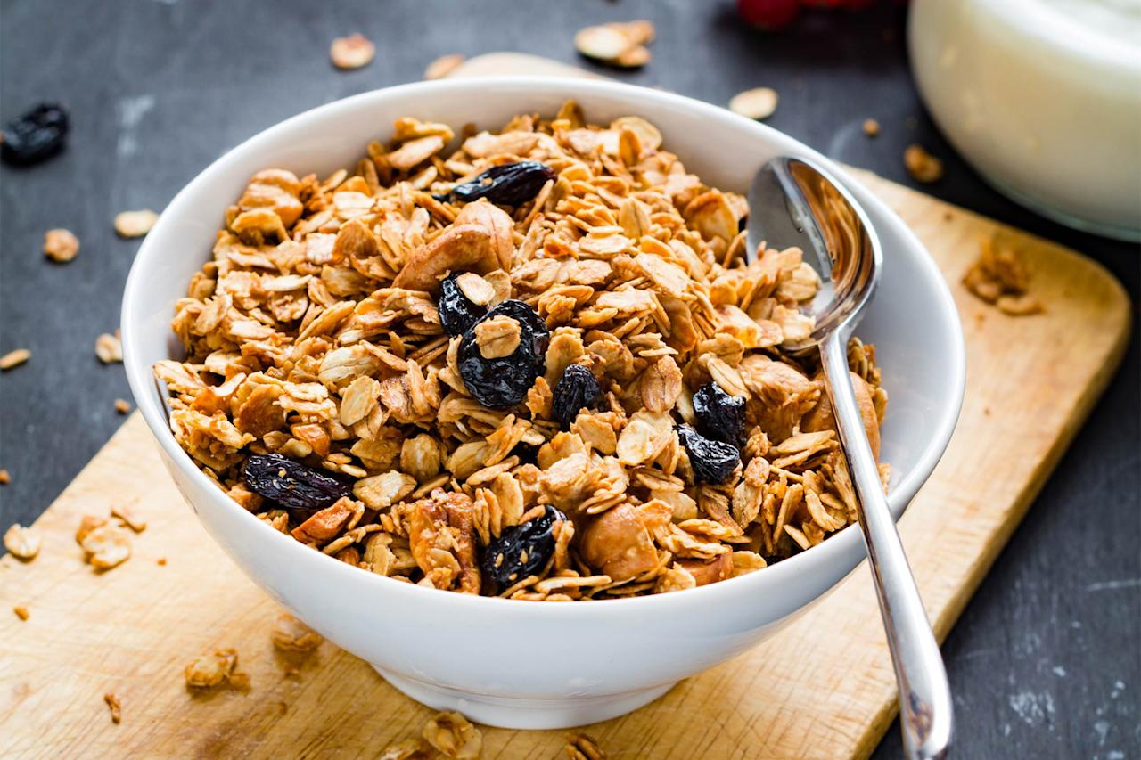 """<p>You know your go-to cereal is a sugar bomb, but that doesn't mean you can't enjoy it in moderation. Mix a sweet cereal with no-sugar-added variety to get the flavor without so many empty calories, suggests <a rel=""""nofollow"""" href=""""http://www.alissarumsey.com"""">Alissa Rumsey</a>, MS, RD, spokesperson for the Academy of Nutrition and Dietetics. """"Start with half-cup of each and wean down to one-forth cup of sugary cereal, plus three-fourths cup no-sugar-added cereal,"""" she says. Find out if you're <a rel=""""nofollow"""" href=""""http://www.rd.com/health/diet-weight-loss/too-much-sugar/1/"""">eating too much sugar</a>.</p>"""