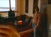 """<p>This is Alanis Morissette's """"meditation area,"""" where she informed viewers """"sometimes I sit on my laptop."""" Sounds really restorative!!!!</p>"""