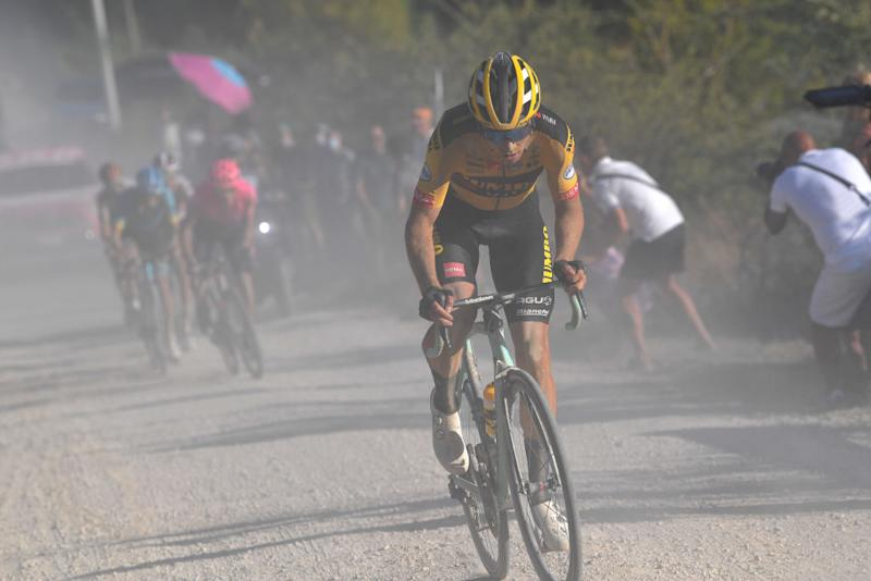 SIENA ITALY AUGUST 01 Wout van Aert of Belgium and Team JumboVisma Dust during the Eroica 14th Strade Bianche 2020 Men a 184km race from Siena to SienaPiazza del Campo StradeBianche on August 01 2020 in Siena Italy Photo by Tim de WaeleGetty Images