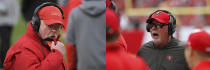 This combination of file photos shows Kansas City Chiefs head coach Andy Reid, left, and Tampa Bay Buccaneers head coach Bruce Arians during NFL football games. There's no retirement age in the NFL, and that's a good thing for Super Bowl-bound Kansas City and Tampa Bay. Andy Reid and Bruce Arians are two of the league's five oldest coaches. Reid is closing in on 63; Arians turned 68 last October. They have a combined 55 years of NFL experience and spent nearly another three decades working at the college level. (AP Photo/File)