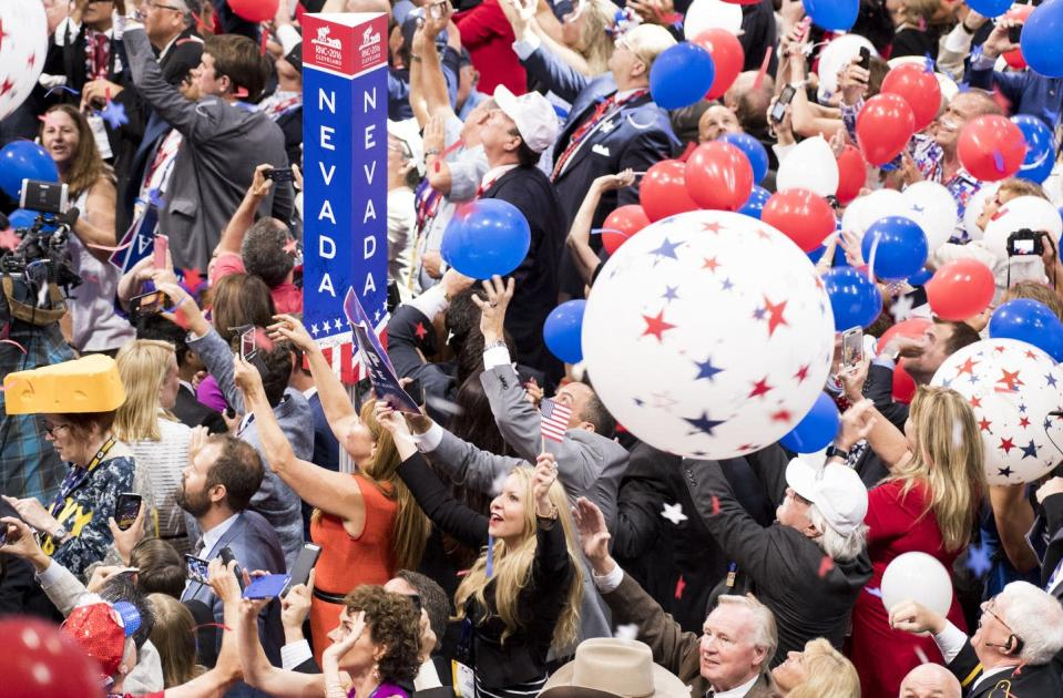 """<span class=""""caption"""">Delegates after Donald Trump accepted the GOP presidential nomination at the Republican National Convention in Cleveland, Ohio on Thursday, July 21, 2016. </span> <span class=""""attribution""""><a class=""""link rapid-noclick-resp"""" href=""""https://www.gettyimages.com/detail/news-photo/delegates-celebrate-as-balloons-drop-from-the-rafters-after-news-photo/578671712?adppopup=true"""" rel=""""nofollow noopener"""" target=""""_blank"""" data-ylk=""""slk:Bill Clark/CQ Roll Call/via Getty"""">Bill Clark/CQ Roll Call/via Getty</a></span>"""