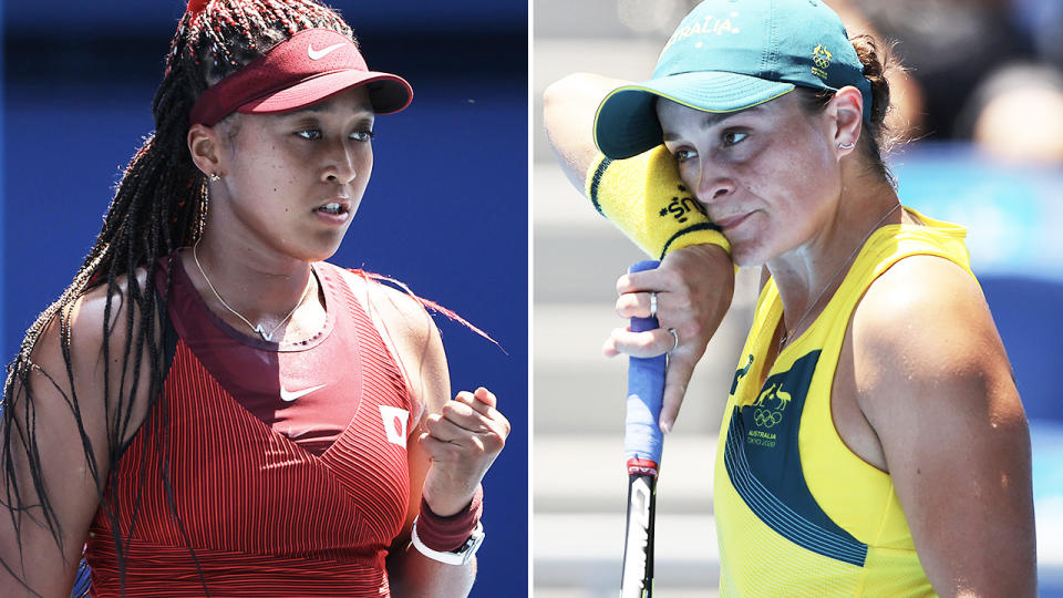 Naomi Osaka and Ash Barty, pictured here in action at the Olympics.