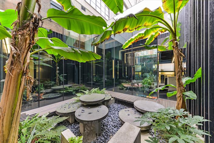 A plant-filled indoor-outdoor sunken courtyard.