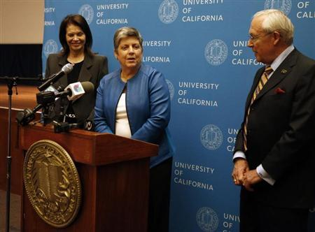 Secretary of Homeland Security Janet Napolitano speaks during a news conference after being voted in as the next director of the University of California on the campus of UCSF in San Francisco