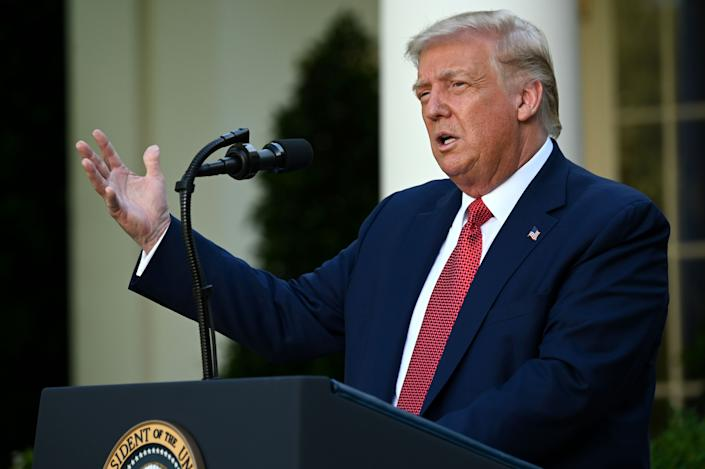 President Trump delivers a news conference in the Rose Garden of the White House in Washington, D.C., on July 14, 2020. (Jim Watson/AFP via Getty Images)