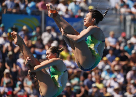 Diving - Gold Coast 2018 Commonwealth Games - Women's Synchronised 3m Springboard - Final - Optus Aquatic Centre - Gold Coast, Australia - April 11, 2018. Esther Qin and Georgia Sheehan of Australia compete. REUTERS/David Gray